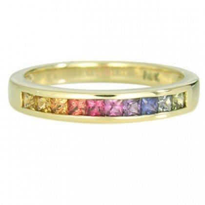 Rainbow Sapphire Half Eternity Band Ring 18K Yellow Gold (3/4ct tw) SKU: 891-18K-YG