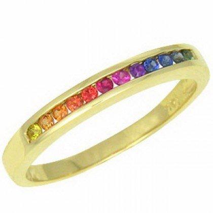 Rainbow Sapphire Half Eternity Band Ring 14K Yellow Gold (1/3ct tw) SKU: 890-14K-YG