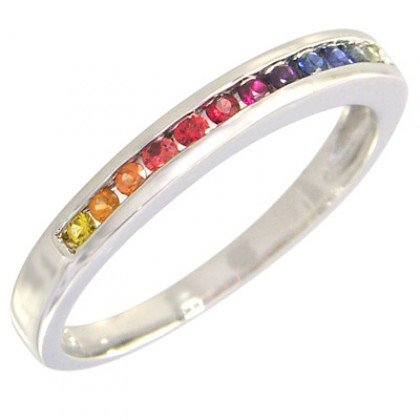 Rainbow Sapphire Half Eternity Band Ring 14K White Gold (1/3ct tw) SKU: 890-14K-WG