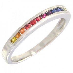 Rainbow Sapphire Half Eternity Band Ring 14K White Gold (1/3ct tw) SKU: 890-14K-WG