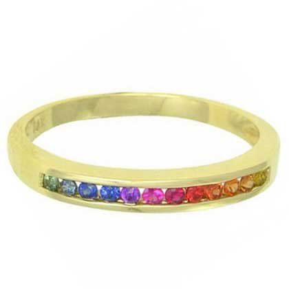 Rainbow Sapphire Half Eternity Band Ring 18K Yellow Gold (1/3ct tw) SKU: 890-18K-YG