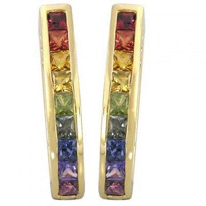 Rainbow Sapphire Earrings J Hoop Huggie 14K Yellow Gold (2ct tw) SKU: 1557-14K-YG