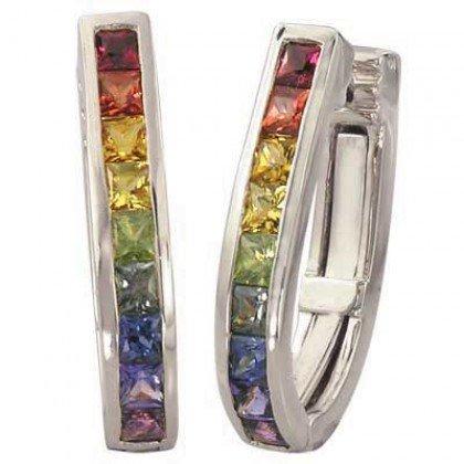 Rainbow Sapphire Earrings J Hoop Huggie 18K White Gold (2ct tw) SKU: 1557-18K-WG