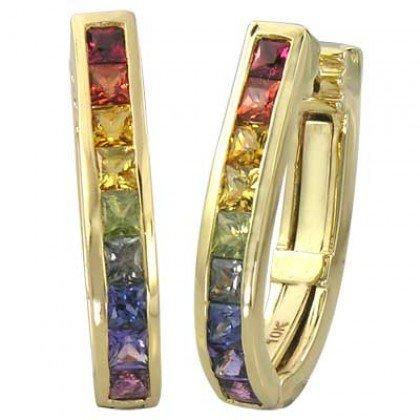Rainbow Sapphire Earrings J Hoop Huggie 18K Yellow Gold (2ct tw) SKU: 1557-18K-YG