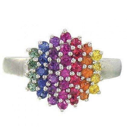 Rainbow Sapphire Engagement Wedding Ring 14K White Gold (1.4ct tw) SKU: 1584-14K-WG