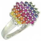 Rainbow Sapphire Engagement Wedding Ring 18K White Gold (1.4ct tw) SKU: 1584-18K-WG