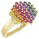 Rainbow Sapphire Engagement Wedding Ring 18K Yellow Gold (1.4ct tw) SKU: 1584-18K-YG