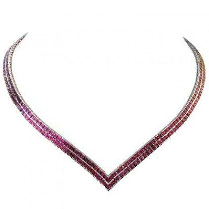 Rainbow Sapphire Double Row Tennis Necklace 14K White Gold (30ct tw) SKU: 1540-14K-WG