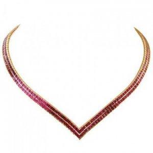 Rainbow Sapphire Double Row Tennis Necklace 18K Yellow Gold (30ct tw) SKU: 1540-18K-YG