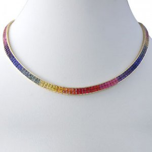 Rainbow Sapphire Invisible Set Double Row Tennis Necklace 14K YG (43ct tw) SKU: 415-14K-YG
