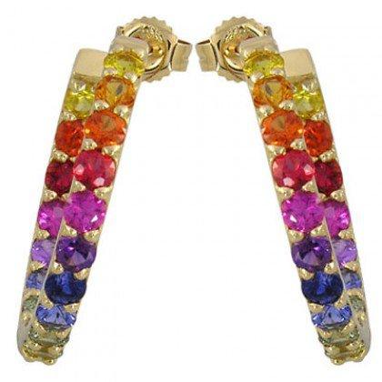 Rainbow Sapphire Earrings Inside Outside 1 Inch Hoop Huggie 18K YG (4ct tw) SKU: 1518-18K-YG