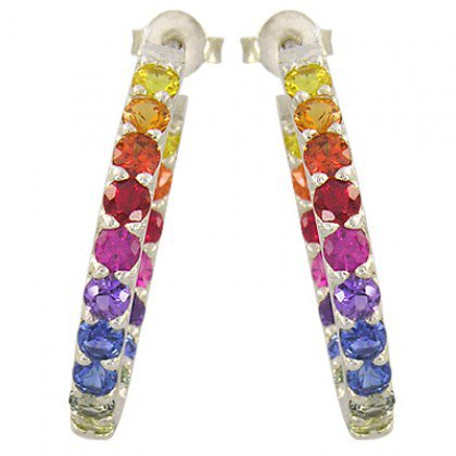 Rainbow Sapphire Earrings Inside Outside 1 Inch Hoop Huggie 18K WG (4ct tw) SKU: 1518-18K-WG