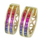 Rainbow Sapphire Earrings Double Row Huggie 14K Yellow Gold (5ct tw) SKU: 437-14K-YG