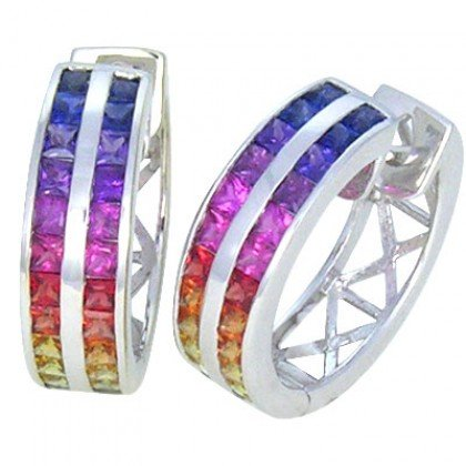 Rainbow Sapphire Earrings Double Row Huggie 18K White Gold (5ct tw) SKU: 437-18K-WG