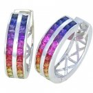 Rainbow Sapphire Earrings Double Row Huggie 18K White Gold (5ct tw) SKU: 437-18K-WG
