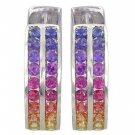 Rainbow Sapphire Earrings Double Row Huggie 925 Sterling Silver (5ct tw) SKU: 437-925
