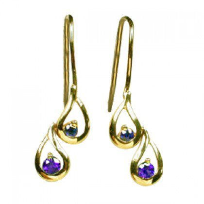 Rainbow Sapphire Journey Earrings 14K Yellow Gold (1/2ct tw) SKU: 393-14K-YG