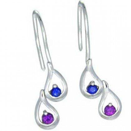 Rainbow Sapphire Journey Earrings 925 Sterling Silver (1/2ct tw) SKU: 393-925