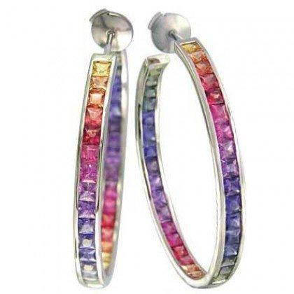 Rainbow Sapphire Earrings Channel Set Hoop Huggie 14K White Gold (8.8ct tw) SKU: 1545-14K-WG