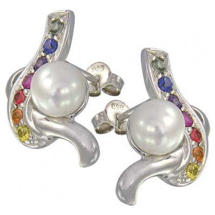Rainbow Sapphire & Pearl Classic Earrings 14K White Gold (1/2ct tw) SKU: 1605-14K-WG