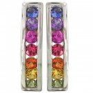 Rainbow Sapphire Earrings Hoop Huggie 925 Sterling Silver (1ct tw) SKU: 888-925