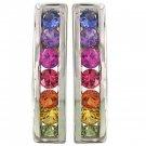 Rainbow Sapphire Earrings Hoop Huggie 925 Sterling Silver (1ct tw) SKU: 888-925