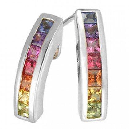 Rainbow Sapphire Earrings Hoop Huggie 14K White Gold (1ct tw) SKU: 888-14K-WG