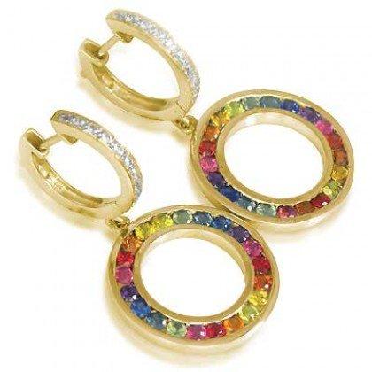 Rainbow Sapphire & Diamond Huggie Earrings 14K Yellow Gold (2.5ct tw) SKU: 424-14K-YG