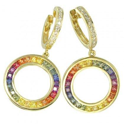Rainbow Sapphire & Diamond Circle Huggie Earrings 14K YG (4.04ct tw) SKU: 1090-14K-YG
