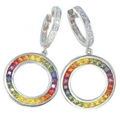 Rainbow Sapphire & Diamond Circle Huggie Earrings 14K WG (4.04ct tw) SKU: 1090-14K-WG