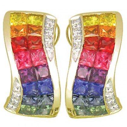 Rainbow Sapphire & Diamond Double Row Invisible Set Earrings 14K YG (4.13ct tw) SKU: 426-14K-YG