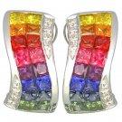 Rainbow Sapphire & Diamond Double Row Invisible Set Earrings 14K WG (4.13ct tw) SKU: 426-14K-WG