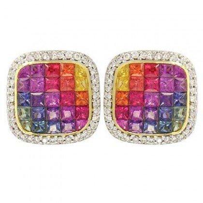 Rainbow Sapphire & Diamond Invisible Set Earrings 14K Yellow Gold (4.5ct tw) SKU: 430-14K-YG