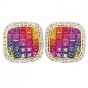 Rainbow Sapphire & Diamond Invisible Set Earrings 14K Yellow Gold (4.5ct tw) SKU: 430-14K-YG