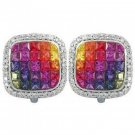 Rainbow Sapphire & Diamond Invisible Set Earrings 14K White Gold (4.5ct tw) SKU: 430-14K-WG