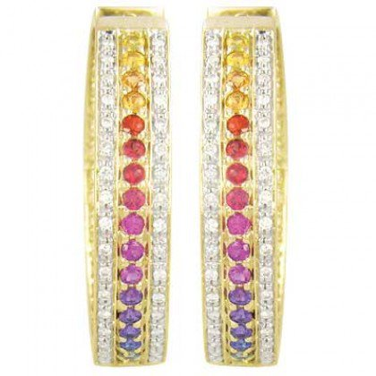 Rainbow Sapphire & Diamond Triple Row Earrings 18K Yellow Gold (4.42ct tw) SKU: 1495-18K-YG