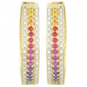 Rainbow Sapphire & Diamond Triple Row Earrings 18K Yellow Gold (4.42ct tw) SKU: 1495-18K-YG