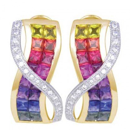 Multicolor Rainbow Sapphire & Diamond Designer Invisible Set Earrings 14K Yellow Gold (6.33ct tw)