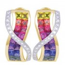 Multicolor Rainbow Sapphire & Diamond Designer Invisible Set Earrings 14K Yellow Gold (6.33ct tw)