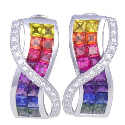Multicolor Rainbow Sapphire & Diamond Designer Invisible Set Earrings 14K White Gold (6.33ct tw)