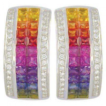 Rainbow Sapphire & Diamond Invisible Set Huggie Earrings 14K WG (8.75ct tw) SKU: 1534-14K-WG