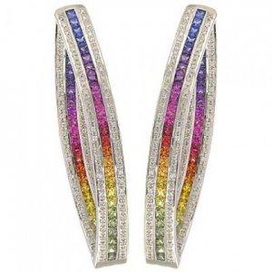 Rainbow Sapphire & Diamond Inside Out Hoop Earrings 14K White Gold (7.8ct tw) SKU: 1608-14K-WG