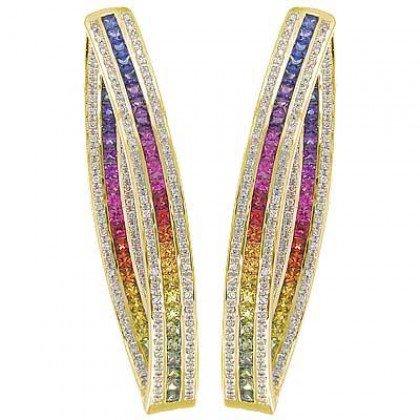 Rainbow Sapphire & Diamond Inside Out Hoop Earrings 14K Yellow Gold (7.8ct tw) SKU: 1608-14K-YG
