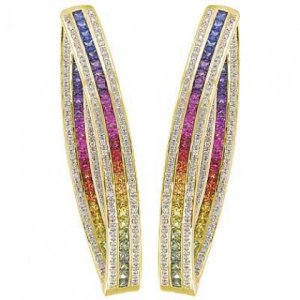 Rainbow Sapphire & Diamond Inside Out Hoop Earrings 14K Yellow Gold (7.8ct tw) SKU: 1608-14K-YG