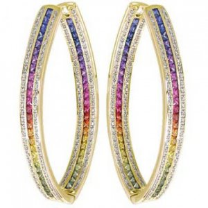 Rainbow Sapphire & Diamond Inside Out Hoop Earrings 18K Yellow Gold (7.8ct tw) SKU: 1608-18K-YG