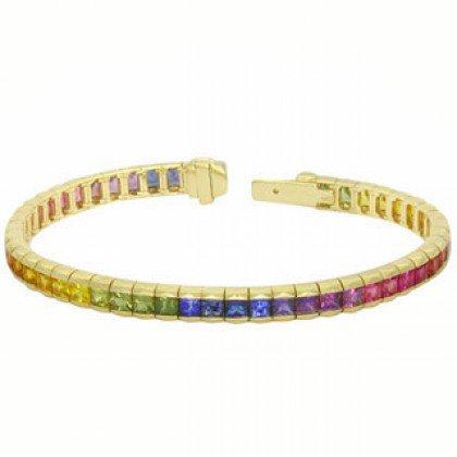 Rainbow Sapphire Tennis Bracelet 14K Yellow Gold (8ct tw) SKU: BRC225-24-14K-YG