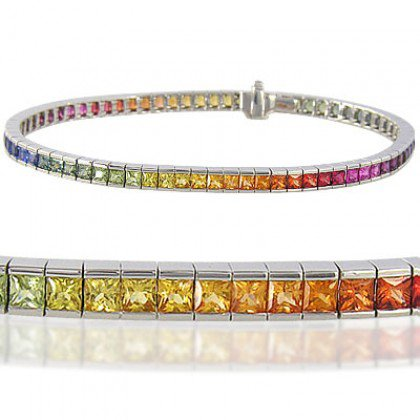 Rainbow Sapphire Tennis Bracelet 18K White Gold (8ct tw) SKU: BRC225-24-18K-WG