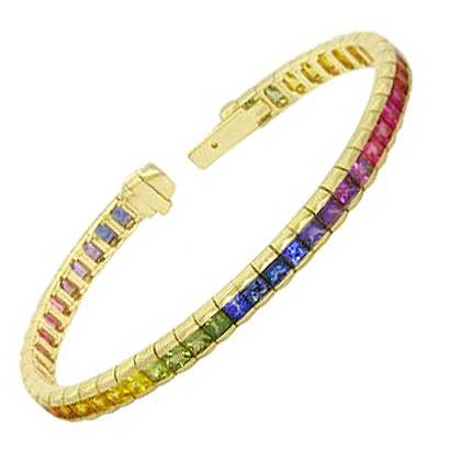 Rainbow Sapphire Tennis Bracelet 18K Yellow Gold (8ct tw) SKU: BRC225-24-18K-YG