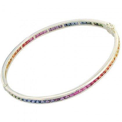 Rainbow Sapphire Eternity Oval Bangle 14K White Gold (8ct tw) SKU: 1520-14K-WG
