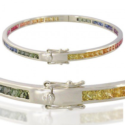 Rainbow Sapphire Eternity Oval Bangle 18K White Gold (8ct tw) SKU: 1520-18K-WG
